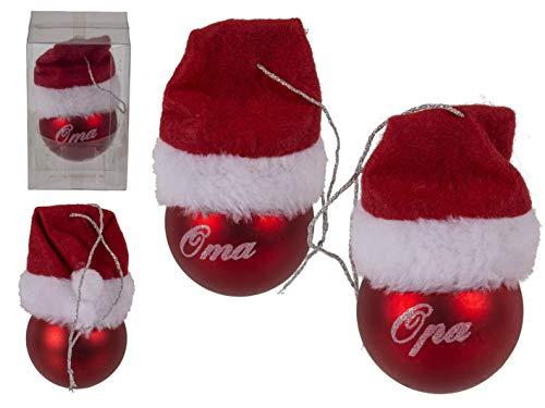 PhiLuMo Rote Weihnachtsbaumkugel mit Mütze, Oma & Opa, 2 Stück Sortiert, mit Band...