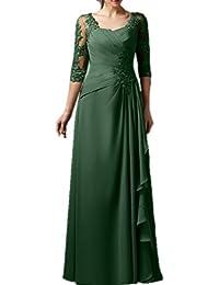 Promgirl House Damen Charmant Chiffon Spitze A-Linie Hochzeits Abendkleider  Ballkleider Lang mit Aermel fea889ac3d