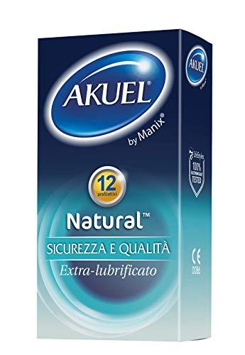 Akuel Natural, preservativi extra-lubrificati in lattice, 12 pezzi