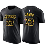NBA Männer T-Shirt L.A Lakers James # 23 Basketball Kurzarmtrikot Basketballtraining City Edition Atmungsaktives Sweatshirt Black-L