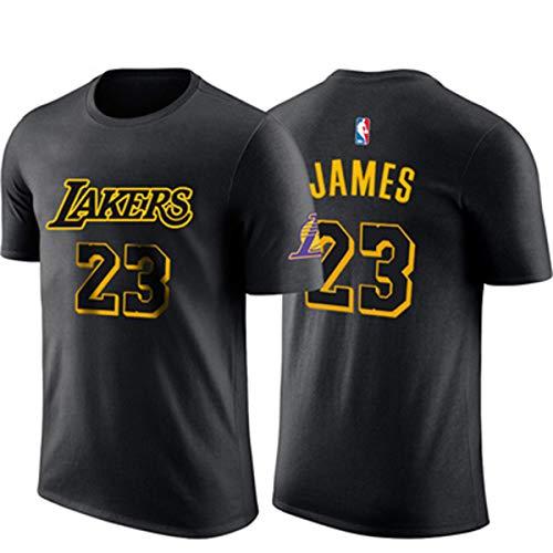 NBA Männer T-Shirt L.A Lakers James # 23 Basketball Kurzarmtrikot Basketballtraining City Edition Atmungsaktives Sweatshirt Black-L