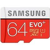 Samsung Memory 64 GB EVO Plus MicroSDXC UHS-I Grade 1 Class 10 Memory Card with SD Adapter - Black/Red/White