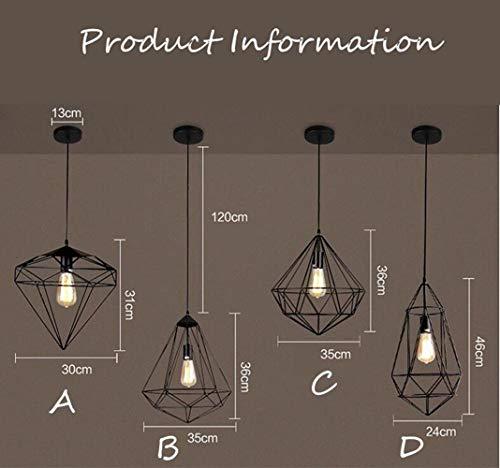 PIN Retro Industrie Eisen Anhänger Beleuchtung Diamant Vogelkäfig Pendelleuchten Einfache Kreative Geometrie Bar Restaurant Cafe Dekorative Lampen, D,C