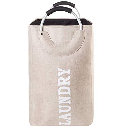 Ivalley - cesto portabiancheria resistente, con manici rotondi in lega di alluminio, pieghevole, pieghevole beige