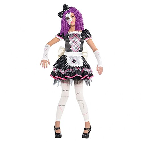 Mädchen beschädigt Puppe Kostüm Teen Kind & ohne Fuß, Fancy Kleid (Kind Rag Doll Girl Kostüm)