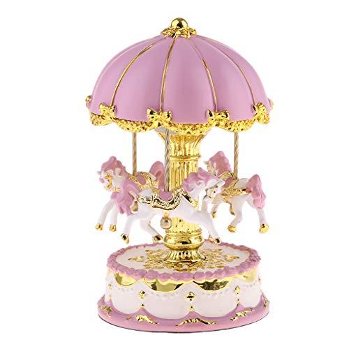 el Horse Music Box Merry Go Runde Spieluhr Für Mädchen Kinder - Rosa + Gold ()