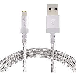 AmazonBasics Câble tressé en nylon Lightning vers USB Certifié Apple Argenté 0,9m