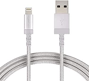 AmazonBasics Nylon Braided USB A to Lightning Compatible Cable - Apple MFi Certified - Silver (6 Feet/1.8 Meter)