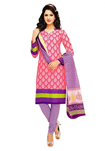 Salwar Studio Pink & Lavender Cotton unstitched churidar kameez with dupatta-MCM-4562