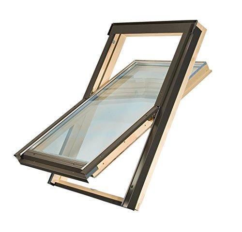 55 x 78 cm Dachfenster der Marke Solstro Premium Holzschwingfenster mit Eindeckrahmen für Ziegel, Dachfenster Außenmaße 55x78 wie C02, CK02, C2A