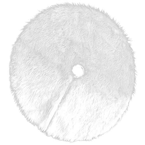 Refurbishhouse gonna albero di natale, 1 pz bianco tappeto albero di natale gonna base tappetino copertura per albero di natale decorazione capodanno casa festa forniture (78 cm / 30.71 pollice)