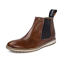 Bacca Bucci Real Leather Hand Made Chelsea Boots-Brown