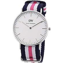 Daniel Wellington DW00100050, reloj blanco / gris para mujer, con correa de nylon
