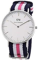 Idea Regalo - Daniel Wellington DW00100050 , Orologio con cinturino in nylon per donna, Bianco / Grigio