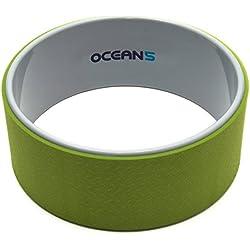 Ocean 5 Yoga-Wheel Karna, Anillo de Entrenamiento para Mejorar la flexibilidad, 33cm de Rollo para Yoga para la Relajación de la Columna Vertebral, Color: Verde/Gris