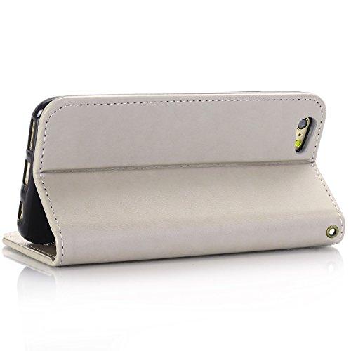 EKINHUI Case Cover Rose Blumen geprägtes Muster Premium PU Leder Geldbörse Fall, Folio Flip Stand Case Cover mit Halter & Card Slots & Magnetverschluss für iPhone 6 & 6s ( Color : Red ) Gray