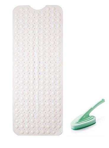 Somine Rutschfeste Antibakterielle Badematte Mit einer Reinigungsbürste- große Größe:100cm X40cm passend für Wanne, Badewanne, Jacuzzi