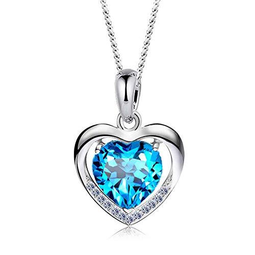 ANGRIZIJUN Frauen Halskette 925 Sterling Silber mit Kristall Herz Anhänger mit Kubikzircon Diamanten Valentinstag für Tochter Mutter Frau Freundin,Blue - Diamant-logo-t-shirt