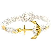 geralin Gioielli Hombre ancla pulsera en oro blanco natural mano Made