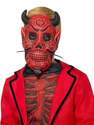 Halloweenia - Männer Day of The Dead Teufel Devil Horror Maske mit Hörnern, Kostüm Accessoires Zubehör, perfekt für Halloween Karneval und Fasching, Rot
