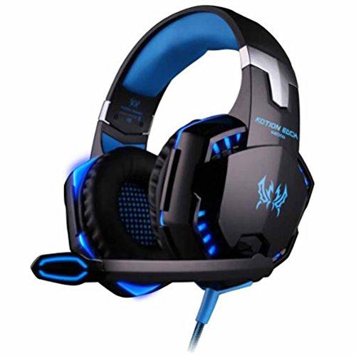 YFQH G2000 Stereo Gaming Headset Para Xbox One PS4 PC, Auriculares Con Micrófono Y Cancelación De Ruido, Luces LED, Sonido Envolvente, Control De Volumen Para Computadora Portátil, Mac, Ipad, Computadora, Conmutador Nintendo, Wii U, Azul