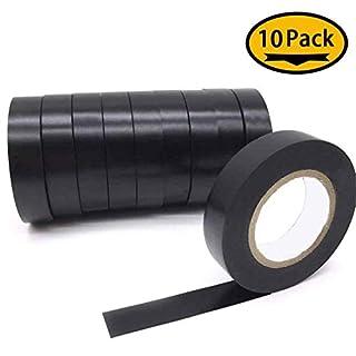 Maveek 10 Rolls Insulation Tape Electrical PVC Waterproof Tape Black 60 Feet