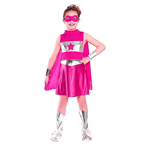 Mädchen-Superheld-Kap-Abendkleid-Kostüm (L - 8/10 Years, Pink)