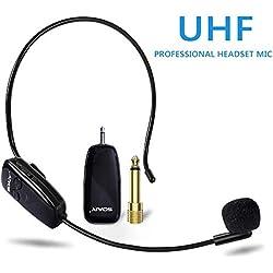SOAIY Microphone sans Fil UHF à Transmission Stable de 50m,Micro Casque sans Fil Rechargeable à Bonne Autonomie de 6h,2 en 1 Micro Serre Tête/à Main pour Conférence,Séance,Enseignement,Guide Tourisme
