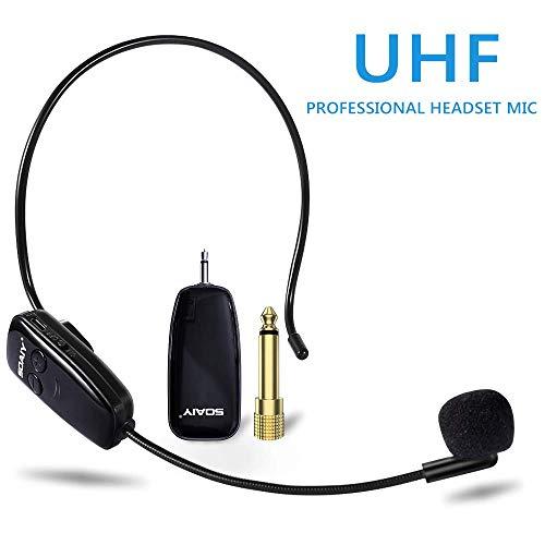 SOAIY Wireless UHF Mikrofon wiederaufladbar drahtloses Mikrofon Headset und Handheld 2-in-1 Funkmikrofon für Konferenzen, Unterricht, Reiseleiter (Mikrofon Wireless Handheld)