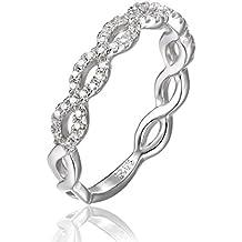 JewelryPalace Magnifique Bague de Fiançailles Femme Infini Alliance Mariage Anniversaire en Argent Sterling 925 en Zircon Cubique de Synthèse CZ