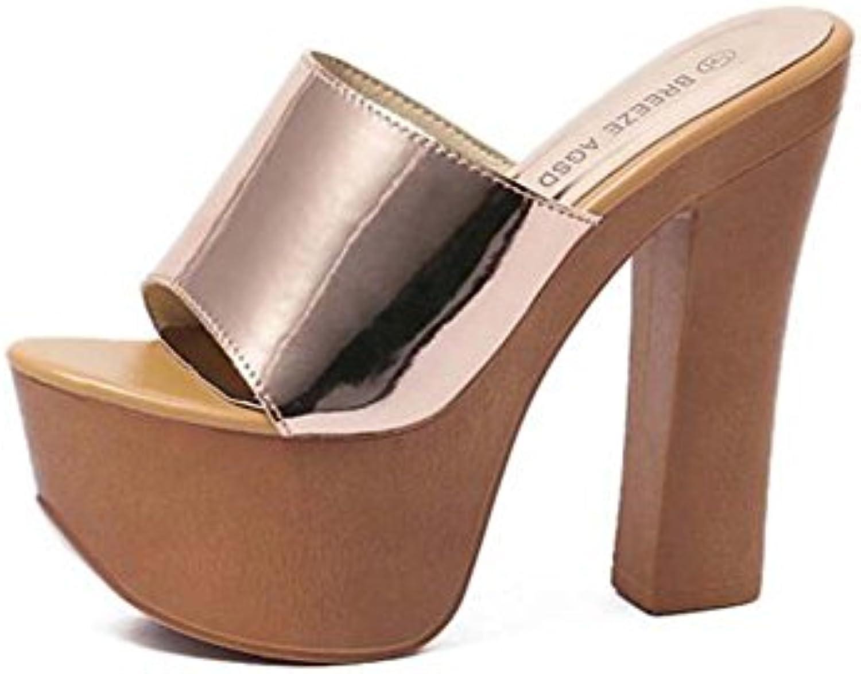 Mujeres 14 cm Chunkly Heel 6 cm Plataforma Sandalias de tacón alto Sexy Solid Peep Toe Cool Zapatillas de vestir...