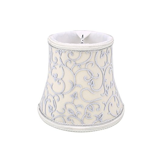Gladle Europäischer Weinlese-Art-Lampenschirm Für Wandleuchter Kronleuchter Pendelleuchte Schirm Tischleuchten Stehleuchten Kerze Kristall Lampe (Beige)