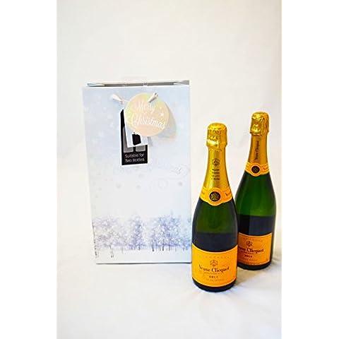Merry Christmas doppia borsa regalo per bottiglia vino, alcolici regalo