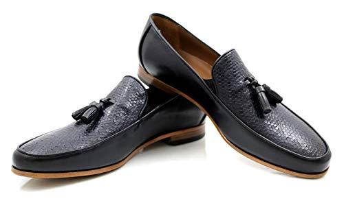 CANNERI Herren Slipper - 9513 - Tassel Loafer - Klassischer Businessschuh - Slip-on Schuh - Schlüpfschuh für Business und Freizeit aus Leder mit Design und Stil (42 EU, Dunkelblau)