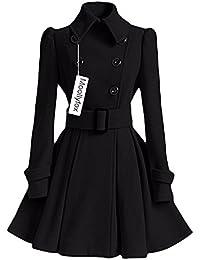 Mujer Pura Color Splice Cinturón Espesar Cálido Abrigo