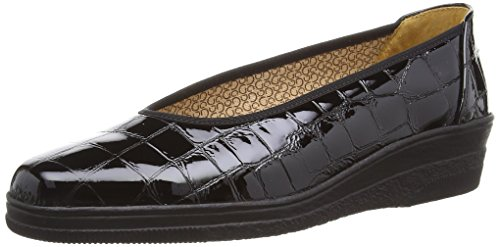 Gabor Piquet, Damen Slipper, Schwarz (Alligator Patent), 41 EU (7.5 UK) (Patent Alligator)