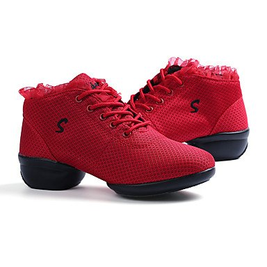 Frauen Tanzschuhe Stoff Stoff Modern Sneakers Chunky Ferse Professional Schwarz Rot Weiß Ruby