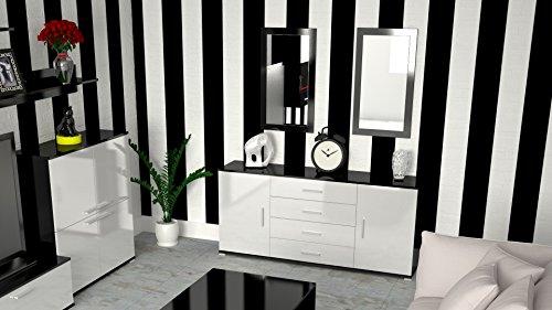 Labi möbel kR1 commode buffet cosmo 160 cm-couleur : noir brillant façades : blanc brillant