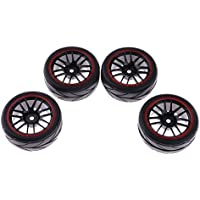 nero 2 paia 85mm cerchioni e pneumatici in gomma per 1:10 Off-Road RC Auto Buggy pneumatici ricambi accessori