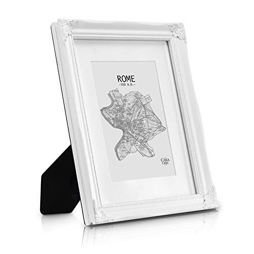 Antik Bilderrahmen A4 - Glasfront - Shabby Chic mit Passepartout für 15x20 Fotos - 2,5 cm...