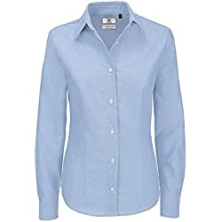 B&C- Camisa de manga larga Oxford para mujer