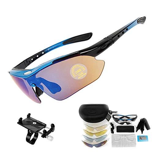 ZHLZH Fahrradbrille polarisiert/Fahrradbrille für Männer Frauen Sportbrillen Fahrradglas UV400 Radfahren Sonnenbrillen geben einen soliden Handyhalter,Blue