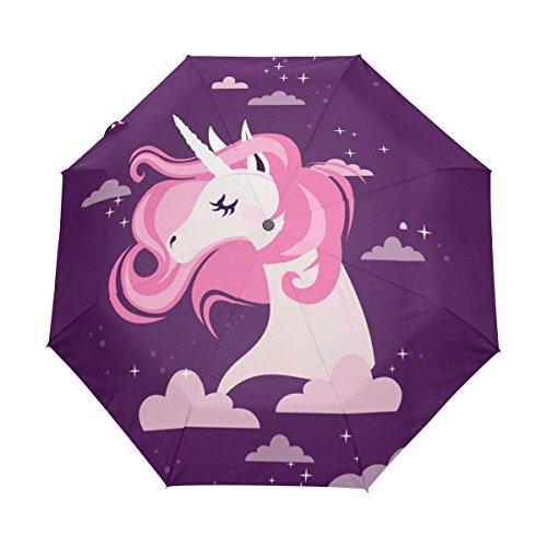 BENNIGIRY Sombrilla con forma de unicornio arcoíris UV anticalornio elegante reverso 3 gotas plegables resistente paraguas especial regalos para negocios y personal, Mujer, Multi#001, talla única