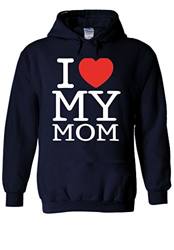 Mothers Day I Love My Mom Heart Novelty Navy Men Women Unisex Hooded Sweatshirt Hoodie-XXL (Mom-tattoo I Heart)