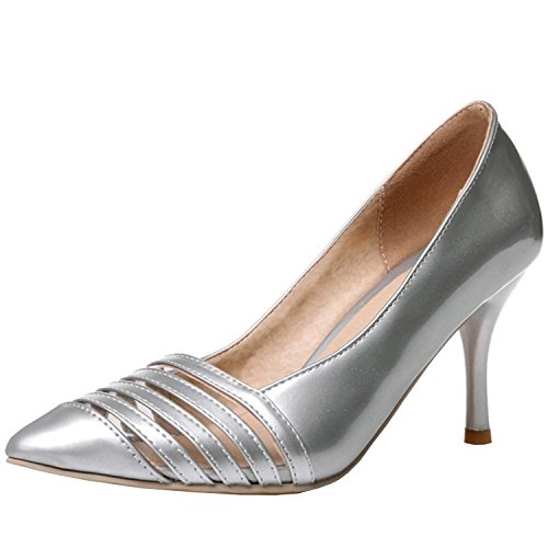 Oasap Women's Fashion Pointed Toe Slip-on Stiletto Party Pumps Silver