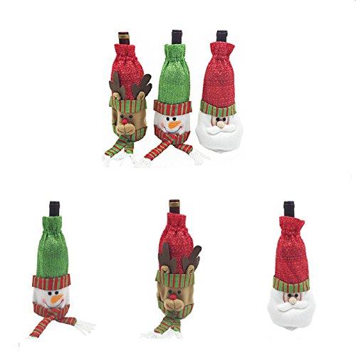 Value Sport Wert Sport Weihnachten Santa Claus Rot Wein Flasche Cover Staubbeutel für Home Party-Dekoration Pattern 3# (Für Halloween-körbe Freund)