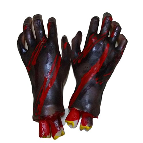Zolimx Halloween Horror Requisiten Blutige Fuß Hand Haunted House Party Dekoration (Hand)