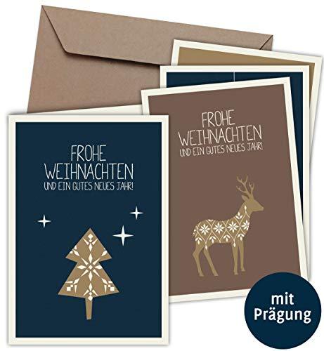 20 Klappkarten & 20 Umschläge: Weihnachtskarten mit PRÄGUNG - Skandinavische Weihnacht - Format 165 x 115 mm, matter Naturkarton mit Blanko-Innenseiten für Weihnachtsgrüße an Familie, Freunde, Kunden
