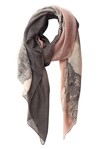 schals: Mode-Spitze-Druck-Schal für Frauen Wrap (DarkGrey+LightPink) (Zigeuner-outfit Ideen)