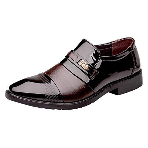 CixNy Herren Anzugschuhe Oxford, Lederschuhe Derby Business Casual Loafers Hochzeit Schnürhalbschuhe Schwarz Braun 39-47 (Braun, 44)